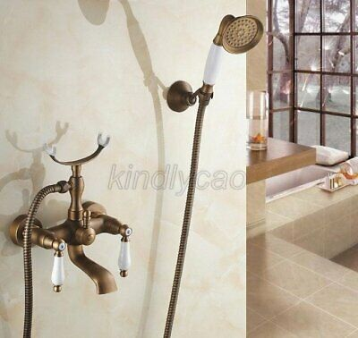 Antique Brass Wall Mounted Bathroom Tub Faucet Sink Mixer Tap Hand Shower Ktf156