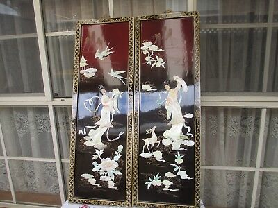 Beautiful Vintage Chinese Mother Of Pearl Lacquer Wall Panels
