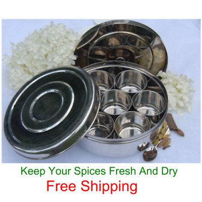 Stainless Steel Spice Box Indian Masala Dabba with 7 Spice Containers Free Ship