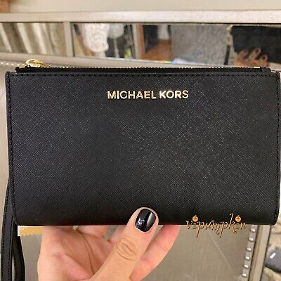 10d6ada910d2 Michael Kors Jet Set Travel Double Zip Wristlet Leather Phone Case Wallet  Black