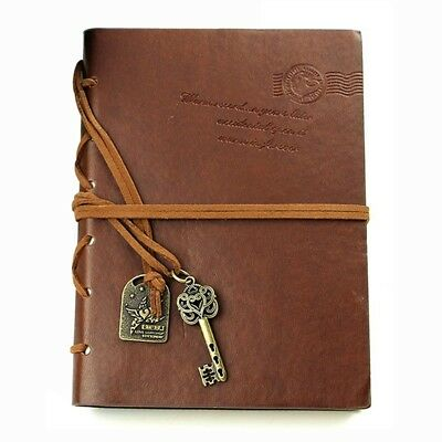 Classic Retro  Leather Bound Blank Pages Journal Diary Notepad Notebook Cof X5W6