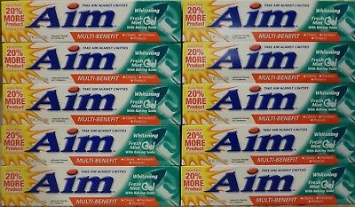 (10) Aim Toothpaste - Whitening Fresh Mint Gel - 5.5 ounces / 156 grams