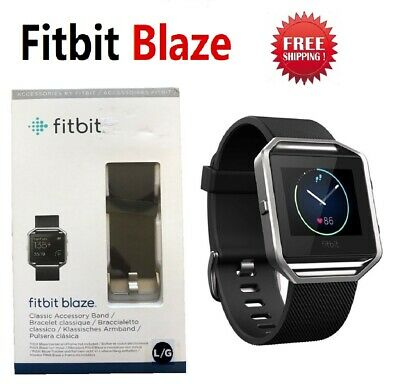 Fitbit Blaze Smart Fitness Watch Activity Tracker Black Leather Large FB502