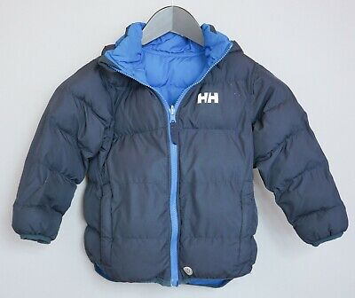 Boys Helly Hansen Jacket Reversible Double Sided Warm Winter Blue 104/4 ZFA924