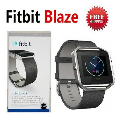Fitbit Blaze Smart Fitness Watch Activity Tracker Black Leather Large Small FB50