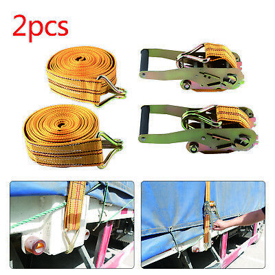 2 Pcs 50mm 6 Meter Ratchets Tie Down Straps 2 tons Heavy Duty Lorry Lashing NEW