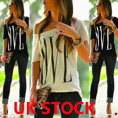 Womens Cold Shoulder Summer T-Shirt Blouse Ladies Casual Tee Tops Plus Size 6-22