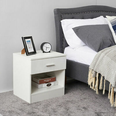 Bedside Table Drawer Storage Bottom Nightstand Cabinet High Gloss Bedroom