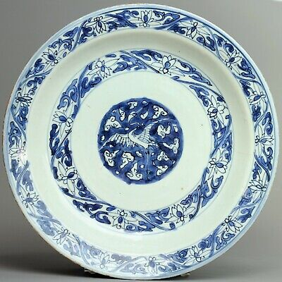 """A chinese blue and white """"crane"""" charger -  late Ming dynasty -  17 th century"""