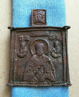 Authentic Medieval Bronze Religious Icon With St Nicholas Rare