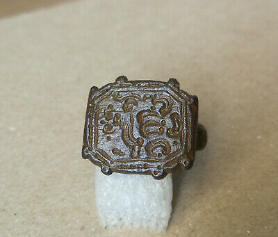 Ancient Viking Old Bronze FABULOUS STATUS Ring Runic Ornament VERY RARE FORM