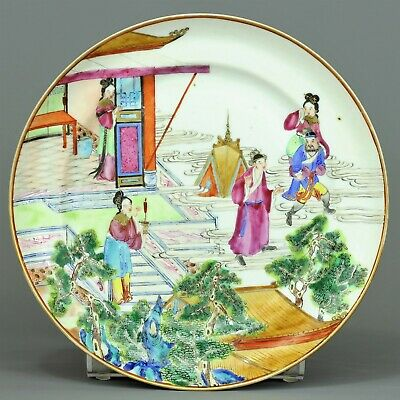 """A chinese famille rose figural """"Canton"""" plate  -  Qing dynasty -  19 th century"""