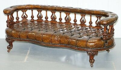Exceptionally Rare 1840's Fully Restored Chesterfield Brown Leather Sofa Bench