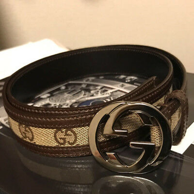 58002deda AUTHENTIC GUCCI BELT GG canvas leather silver beige brown F/S ...
