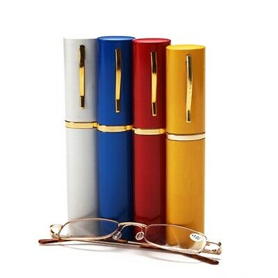 Unisex Metal Reading Glasses Spring Hinge With Tube Case+1.5~+3.0 Strength