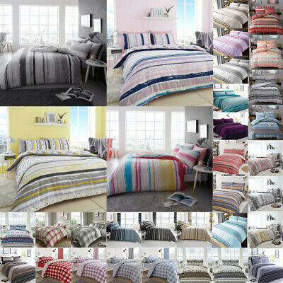 Check Duvet Cover Set King Size Double Single Super Stripe Bedding New Designer