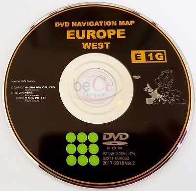 Toyota Lexus ORIGINAL Navigation DVD E1G 2018 West Europe de l'Ouest