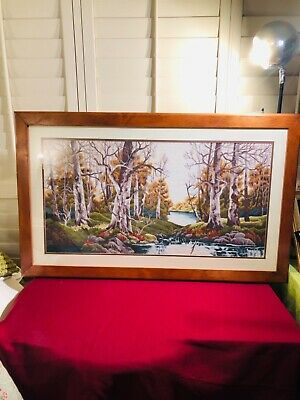 BEAUTIFUL HEAVY WOOD FRAMED 41 x 25 EMBROIDERY LANDSCAPE PICTURE