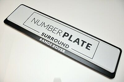 1 x PRESTIGE BLACK STAINLESS STEEL NUMBER PLATE SURROUND HOLDER *FOR RANGE ROVER