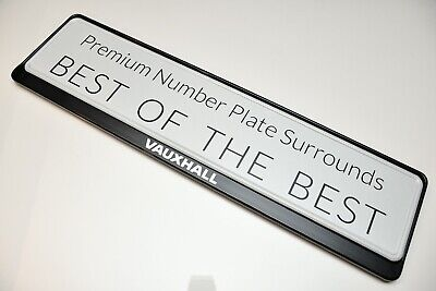 1 x PRESTIGE BLACK STAINLESS STEEL NUMBER PLATE SURROUND HOLDER * FOR VAUXHALL