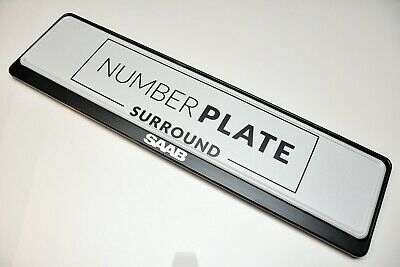 1 x PRESTIGE BLACK STAINLESS STEEL NUMBER PLATE SURROUND HOLDER * FOR SAAB