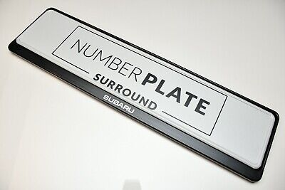 1 x PRESTIGE BLACK STAINLESS STEEL NUMBER PLATE SURROUND HOLDER * FOR SUBARU