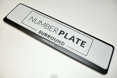 1 x PRESTIGE BLACK STAINLESS STEEL NUMBER PLATE SURROUND HOLDER * FOR VOLVO