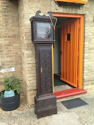 Antique carved oak grandfather clock case  with verse good condition