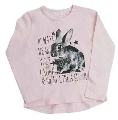 Girls Long Sleeved Cotton Rich Top Shirt T-shirt Print Cute Soft Bunny Casual