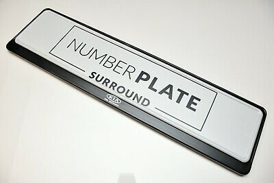 1 x PRESTIGE BLACK STAINLESS STEEL NUMBER PLATE SURROUND HOLDER * FOR KIA