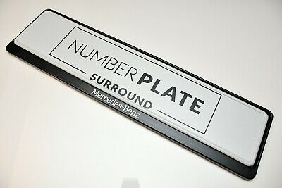 1 x PRESTIGE BLACK STAINLESS STEEL NUMBER PLATE SURROUND HOLDER *FOR MERCEDES