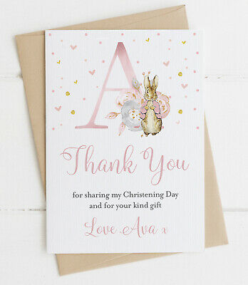 10 Personalised Peter Rabbit Initial Thank You Cards Blue/Pink Christening
