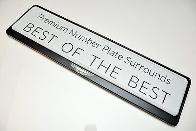 1 x PRESTIGE BLACK STAINLESS STEEL NUMBER PLATE SURROUND HOLDER * ASTON MARTIN