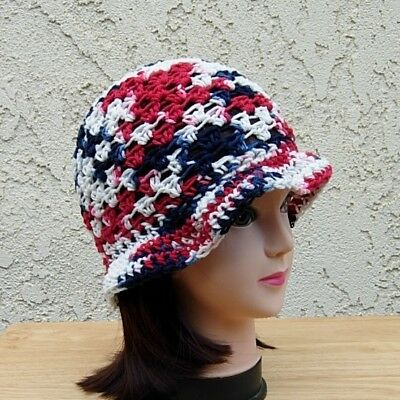 Red White and Blue Cotton Crochet Knit Hat Summer Beach Sun Women's 4th of July
