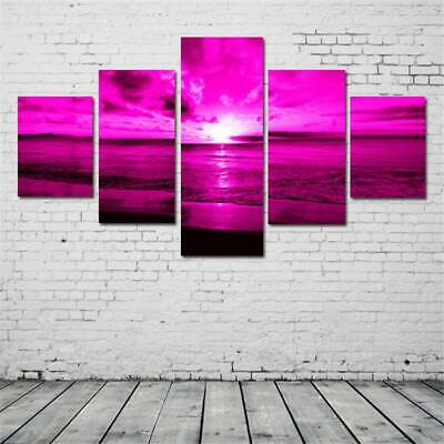 On Canvas Huge Wall Art Frameless Sea Sunset Purple Home Decor Oil Painting