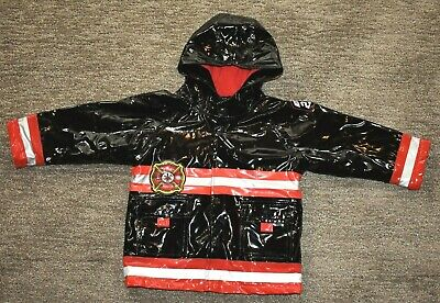 d15cab6a2cec Western Chief Toddle Boys Black Fire Fighter Warm Hoodie Rain Coat Jacket 3T