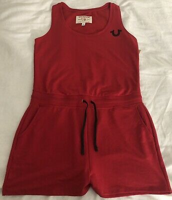 a4e055bda67e New Women s True Religion 200509 HorseShoe Active Romper Color Ruby Red  Size (M)
