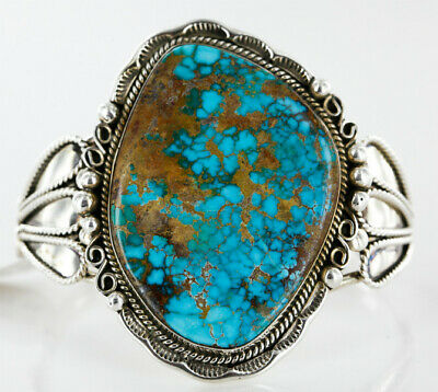 $2780Tag Certified Silver Navajo Turquoise Native American Cuff Bracelet 12674