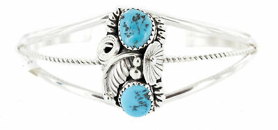 $380Tag Certified Silver Navajo Natural Turquoise Native American Bracelet 13021