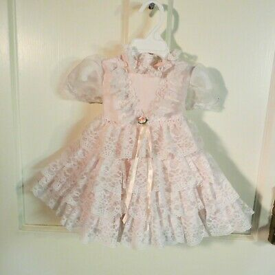 Vtg 2 Toddler Spring Easter Dress White Lace Ruffles Pale Pink Short Sleeves