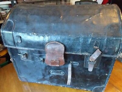 Vintage leather bound, dome top steamer trunk original used condition