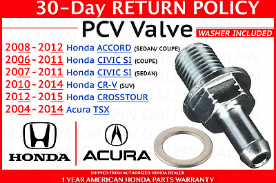 Genuine Honda Crosstour CR-V Accord Civic TSX PCV Valve OEM 17130RBBA01