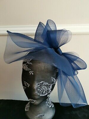 navy dark blue fascinator millinery burlesque headband wedding hat hair piece