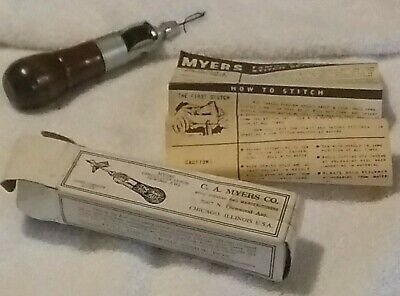 C.A. Myers Co Lock Switch Sewing Awl Leather Harness Repair Original Box Instruc