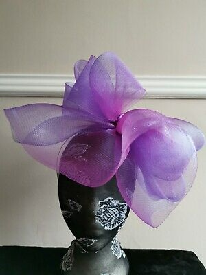 purple fascinator millinery burlesque headband wedding hat hair piece ascot race