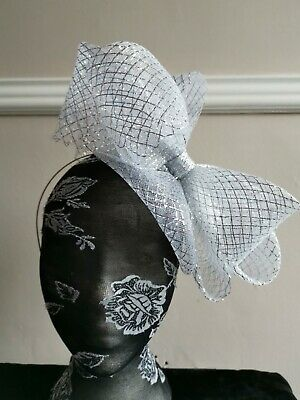 silver fascinator millinery burlesque headband wedding hat hair piece ascot race