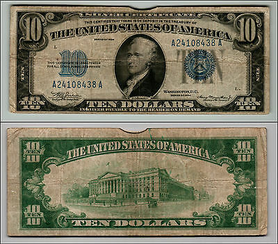 1934 $10 Silver Certificate Blue Seal Nice Piece Of History  Lotq 233