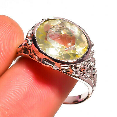 Natural Green Amethyst Gemstone Ethnic Style 925 Sterling Silver Ring 6.75 US