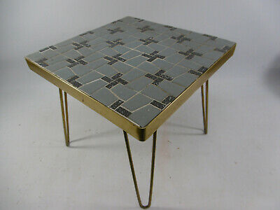 Flower Stool Stool the 60's Flower Bench Gray Square Mosaic 4 Legs Brass