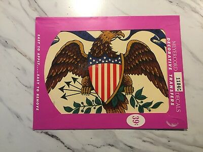 "Vintage NEW OLD STOCK Meyercord Decal Transfer American Eagle 6.75x8.75"" 1104-C"